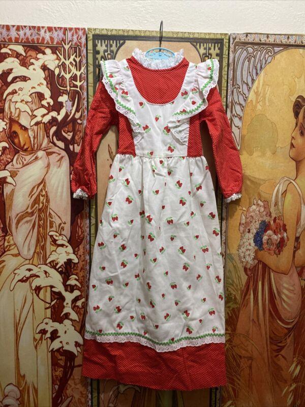 Vintage Child Girl Strawberry Eyelet Polka Dot Ruffle Pinafore Maxi Dress