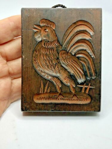 Vintage Germany Hand Carved Wax Springerle Cookie Mold Rooster Plaque