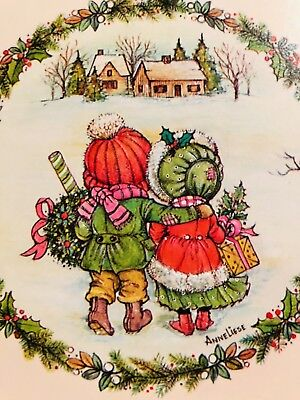 - Vintage 60s Christmas Card~Friends Walking in Snow~Artwork Signed AnneLiese