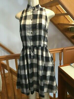 Semi Formal Themes (THEME  BLACK PLAID SLEEVELESS BUTTON FRONT COTTON LADIES DRESS SIZE M)