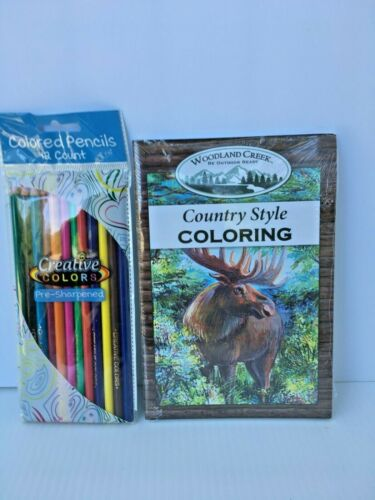 Woodland Creek Country Style Coloring Booklets & Creative Colors Colored Pencils
