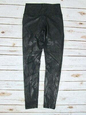 Fabletics Demi Lovato XS Lisette Leggings Black Shiny Leaf Feather High Waist