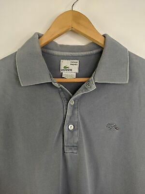 Lacoste Vintage Washed Polo Shirt Men 2XL XXL Size 7 Gray Blue Crocodile
