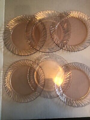 ARCOROC ROSALINE PINK SWIRL PLATES, GROUP OF 6