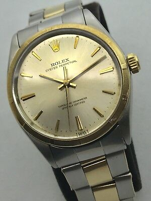 Vintage Rolex Oyster Perpetual 2 Tone Gold Steel C+I Two Tone Riveted Bracelet