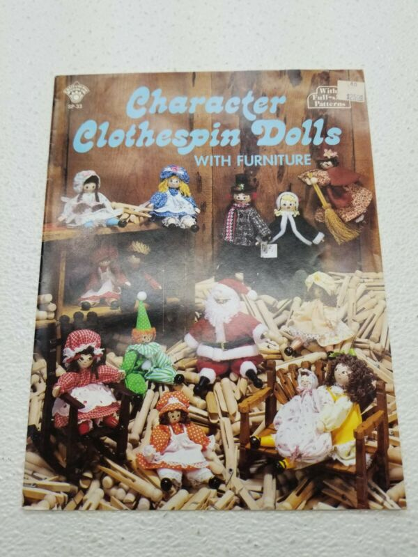 CRAFT PATTERN BOOK CHARACTER CLOTHESPIN DOLLS WITH FURNITURE VINTAGE