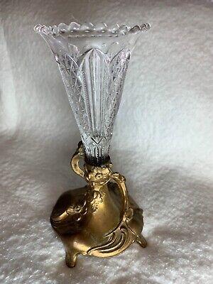 Vintage Art Nouveau Glass and Gilded Metal Bud Vase
