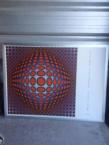 Large Abstract Picture in   Silver Metal Frame