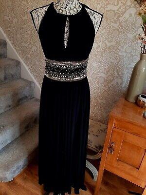 JS Boutique black embellished maxi cocktail dress size UK8
