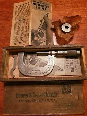 Brown And Sharpe Micrometer 47 Machinist Wooden Box 1 Gage Wrench Papers
