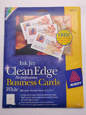 Avery Clean Edge White Business Cards - 200 Count - 2 X 3.5 Inkjet Printable