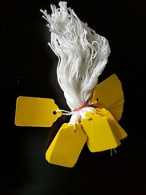 100 Yellow Price Tags String Merchandise Garment Hang Coupon Strung Label Retail