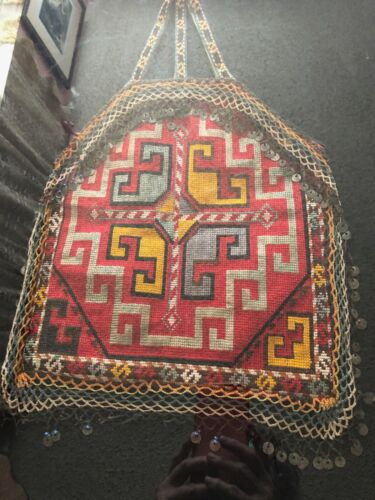 Framed Antique Silk & Wool  Woven Bag Uzbekezstan  Lakai Tribe 1920