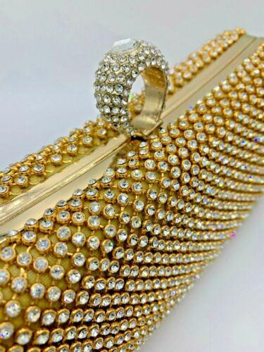 Sparkling Clutch Gold Evening Bag made w/ Swarovski Crystal Ring Clasp Bridal
