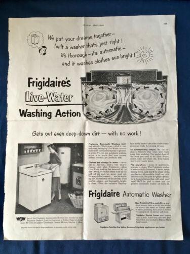Vintage FRIGIDAIRE Automatic Washer Appliance 1952 Magazine Sales Advertisement