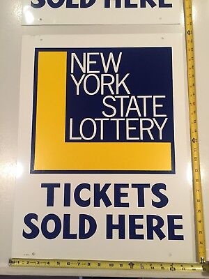 Metal New York State Lottery Sign Double Sided 24 X16  Nos   10 Available