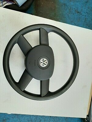 VW GOLF MK5 GREY LEATHER 4 SPOKE STEERING WHEEL & AIRBAG WITH WIRING LOOM