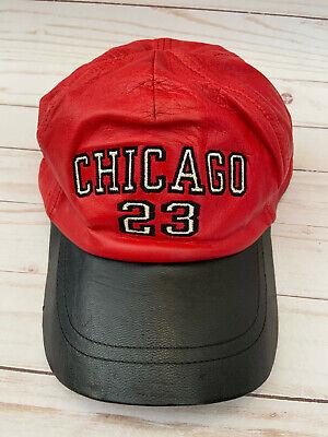 Vtg CHICAGO 23 Bulls Michael Jordan All LEATHER Baseball Cap Hat RED Snapback