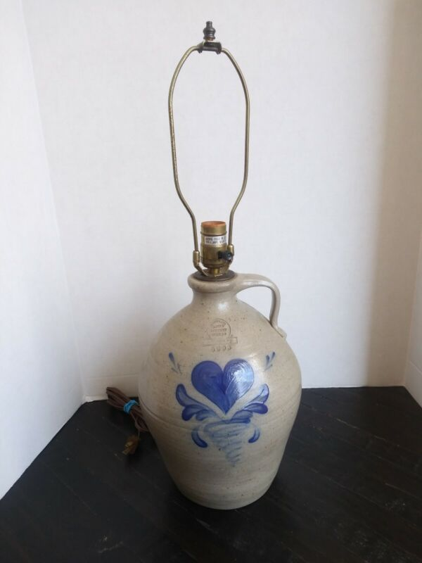 VTG 93 Rowe Pottery Works Blue Heart Large Table Jug Lamp Salt Glazed Stoneware