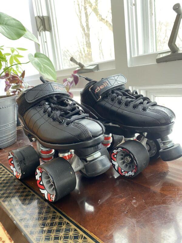 Riedell R3 Cayman Roller Derby Quad Speed Skates Radar Wheels - Black - Size 2