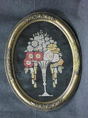 Stickbild,Petit points,19.Jhdt, Blumen,Stuckrahmen vergoldet