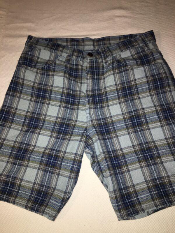 Vintage Levi's Sta Prest Black Tab Shorts Plaid 1960s 32 Waist
