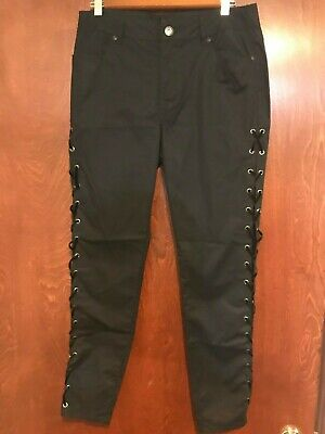 Harley Davidson Womens Size 8 Black Lace Up Sides Embroidered  Pants