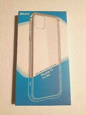 Mkeke iPhone 11 Pro Max Ultra Slim Case, Clear, Shock Absorbent, 6.5 Inches, NEW
