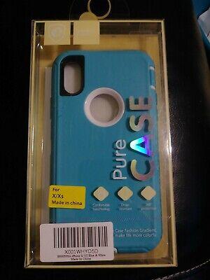 Cute blue white Phone Case pure case  iPhone X Xs  Silicone Cell Phone. (Cell Phone White Silicone Case)