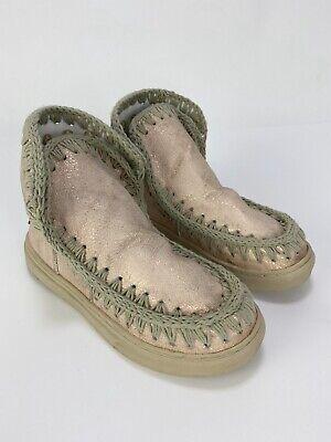 Mou Kids Girls Sneaker Boot EU 35 Womens 5.5 Kids 3.5 Pink Shimmer Crochet
