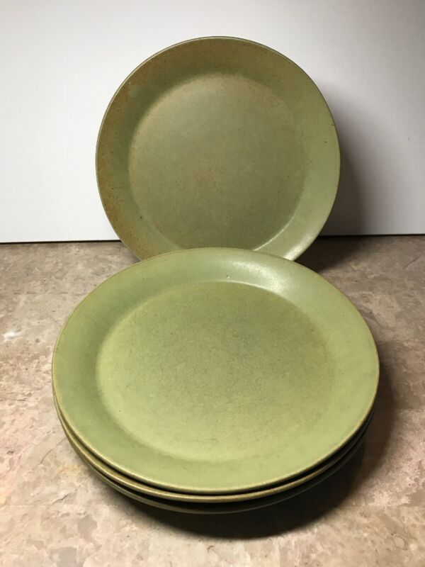 Early Gil Bennington Vermont Potters 1629 Dishes Green/Yellow Plates (set of 4)