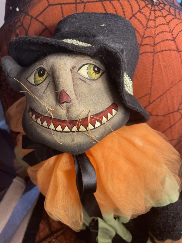 "Halloween Fabric Stuffed Sculpture Hand-painted, Black Thom Cat Doll 29"" New"