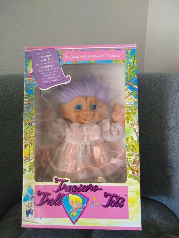Vintage Troll In Box. Treasure Troll Tots. 14""