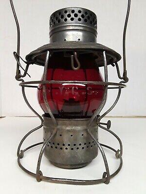 Handlan railroad lantern w/red globe New York Central System