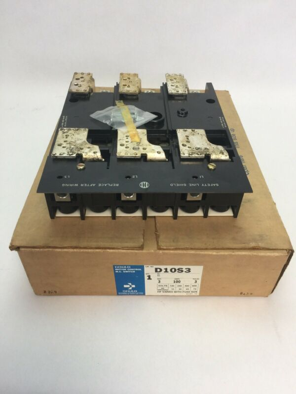 GOULD D10S3 MOTOR CONTROL M.C. SWITCH SIZE 3 100AMPS 3 POLES 600V 75HP UNFUSED