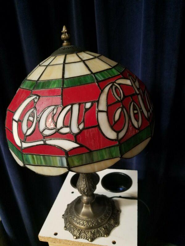 "COCA COLA LAMP TIFFANY STYLE PLASTIC LAMP SHADE 19"" TALL"