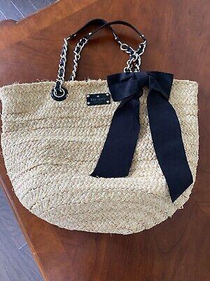 Kate Spade STRAW WICKER  Black  BOW TRAVEL BAG Handbag Tote purse  chain handles