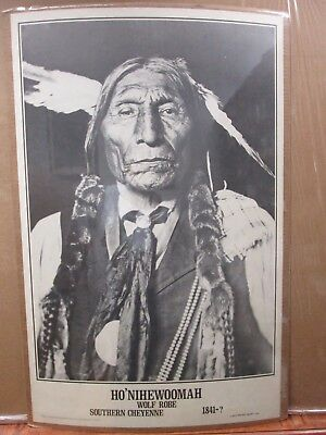 Vint Blk & White Indian Poster Ho' Nihewoomah wolf Robe Cheyenne 1841-? in#G2258