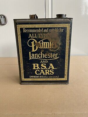 Very Rare Daimler Lanchester and BSA Cars Original Vintage 1930's Oil Can