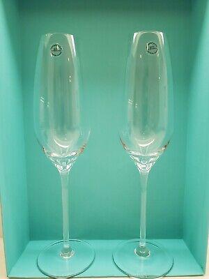 Brand New Sealed Pair Of Tiffany & Company Handmade Crystal Champagne Flutes