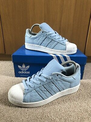 Ladies Baby Blue & White 2015 Adidas Superstar Trainers Size 6.5 Boxed Used