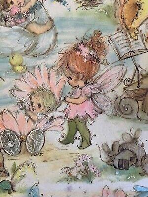 Vintage Hallmark Gift Wrap Paper Fairy Children Fairies Birds Mice Flowers