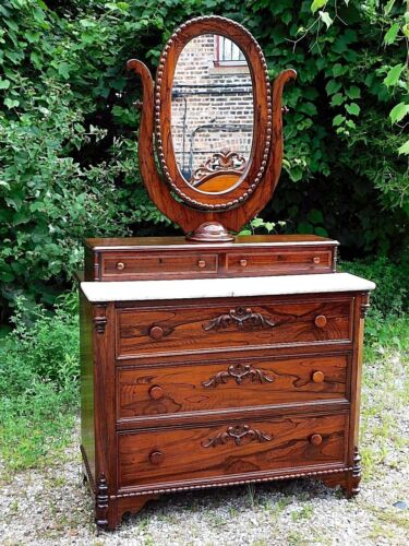 Rosewood Antique Victorian Ornate Dresser & oval mirror with marble top