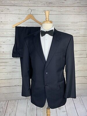 Jos. A. Bank Signature Gold Navy Pinstripe 2 Btn Suit Mens Size 43R 100% Wool Mens Navy Pinstripe Wool Suit