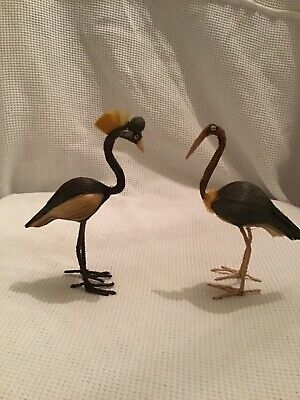 PAIR OF FLAMINGOES GREY AND CREAM RECYCLED PLANT FIBRES ANTIQUE