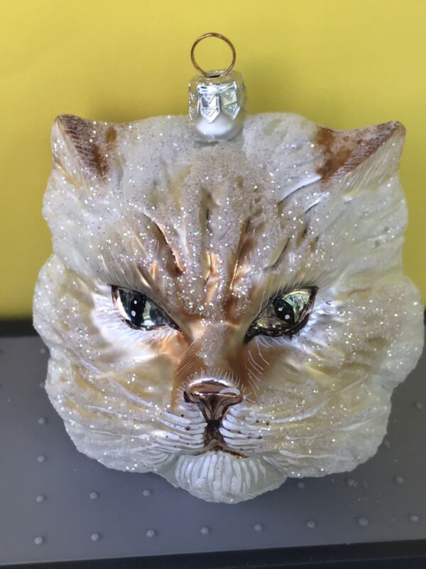 Large Persian Cat Head Christmas/Holiday Ornament
