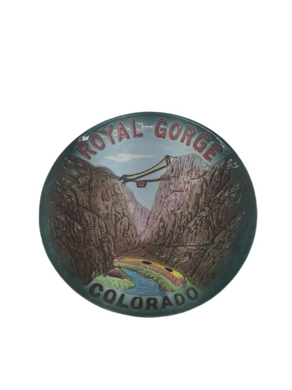 Vintage THE ROYAL GORGE Souvenir China Plate HAND PAINTED Canyon in COLORADO