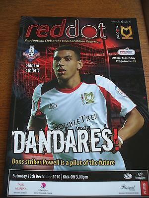 MK Dons v Oldham Athletic POSTPONED 18-12-2010