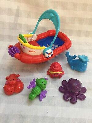 Fisher Price Amazing Animals Tubtime Tugboat Bath Boat Lobster Seahorse Octopus