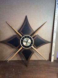 Rare Verichron Vintage Mid Century Modern Mcm Sunburst Starburst Wall Clock